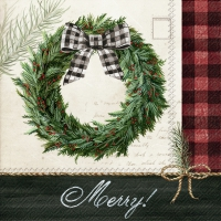 Servietten 25x25 cm - COZY KNIT HOLIDAY WREATH