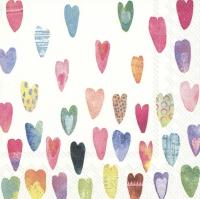 Servietten 25x25 cm - RAINBOW HEARTS