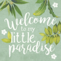 Servietten 25x25 cm - WELCOME TO PARADISE mint