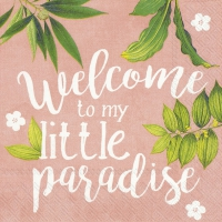 Servietten 25x25 cm - WELCOME TO PARADISE apricot