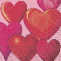 Servietten 25x25 cm - FUNNY HEARTS pink