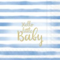 Servietten 25x25 cm - HELLO LITTLE BABY light blue