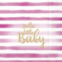 Servietten 25x25 cm - HELLO LITTLE BABY light rose
