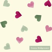 Servietten 25x25 cm - PINK AND GREEN HEARTS
