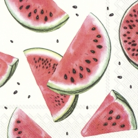 Servietten 25x25 cm - WATERMELON white