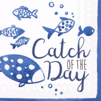 Servietten 25x25 cm - CATCH OF THE DAY white blue