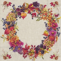 Servietten 25x25 cm - AUTUMN WREATH linen