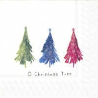 Servietten 25x25 cm - COLOURFUL CHRISTMAS TREES