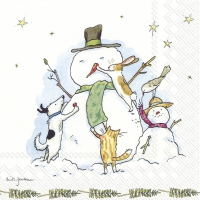 Servietten 25x25 cm - SNOWMAN WITH FRIENDS
