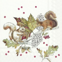 Servietten 25x25 cm - SQUIRRELS AND BERRIES