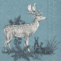 Servietten 25x25 cm - FOREST FRIENDS DEER blue