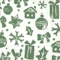 Servietten 25x25 cm - SNOWMAN STAMP green