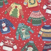 Servietten 25x25 cm - UGLY SWEATER red