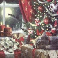 Servietten 25x25 cm - CAT IS WAITING FOR CHRISTMAS