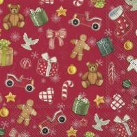 Servietten 25x25 cm - FESTIVE CHRISTMAS TOYS red