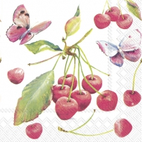 Servietten 25x25 cm - CHERRIES AND BUTTERFLY