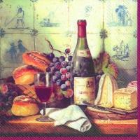 Servietten 33x33 cm - Wine and Cheese red