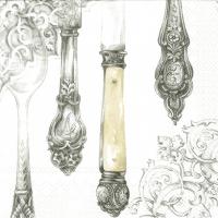 Servietten 33x33 cm - Cutlery white silver