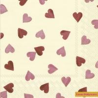Servietten 33x33 cm - HEARTS
