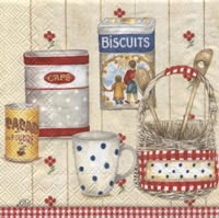Servietten 33x33 cm - COTTAGE PANTRY red