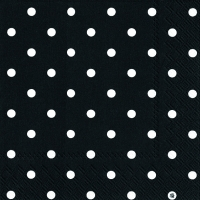 Servietten 33x33 cm - LITTLE DOTS black white