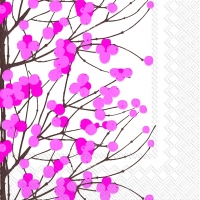 Servietten 33x33 cm - LUMIMARJA white pink