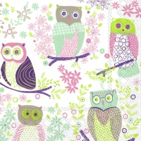 Servietten 33x33 cm - JOLLY OWLS light green