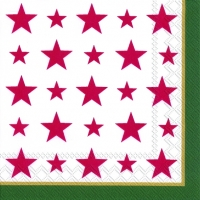 Servietten 33x33 cm - TOP STARS red green