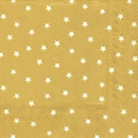 Servietten 33x33 cm - LITTLE STARS gold white