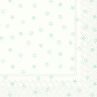 Servietten 33x33 cm - Kleine Sterne weiß hellblau