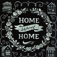 Servietten 33x33 cm - HOME SWEET HOME black