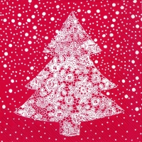 Servietten 33x33 cm - CHRISTMAS LACE red