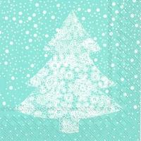 Servietten 33x33 cm - CHRISTMAS LACE hellblau