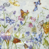 Servietten 33x33 cm - BUTTERFLIES AND BLOSSOMS white