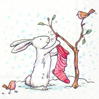 Servietten 33x33 cm - CHARMING SNOW RABBITS