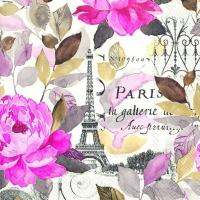 Servietten 33x33 cm - JARDIN PARIS pink