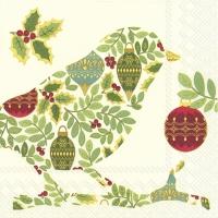 Servietten 33x33 cm - FESTIVE BIRD Creme für Vögel