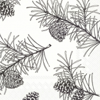 Servietten 33x33 cm - PINE BRANCHES white black
