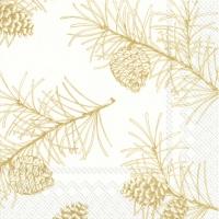 Servietten 33x33 cm - PINE BRANCHES white gold