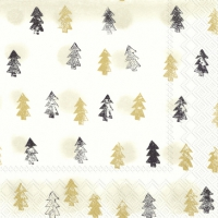 Servietten 33x33 cm - WINTER TREES gold