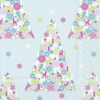 Servietten 33x33 cm - SWEET MERRY CHRISTMAS li. blue