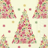 Servietten 33x33 cm - SWEET MERRY CHRISTMAS cr. red