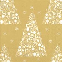Servietten 33x33 cm - SWEET MERRY CHRISTMAS gold wh.