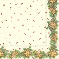 Servietten 33x33 cm - CHRISTMAS GARLAND cream