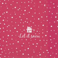 Servietten 33x33 cm - LET IT SNOW rot