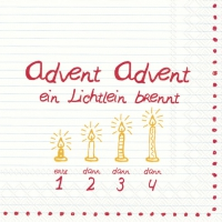 Servietten 33x33 cm - ADVENT, ADVENT .... rot
