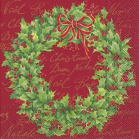 Servietten 33x33 cm - HOLLY WREATH rot