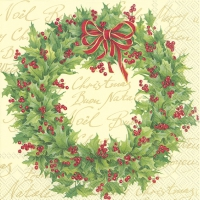 Servietten 33x33 cm - HOLLY WREATH cream