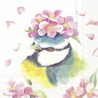 Servietten 33x33 cm - BEAUTIFUL BIRD white