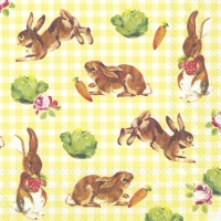Servietten 33x33 cm - LITTLE BUNNIES yellow